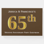 [ Thumbnail: Brown, Faux Gold 65th Wedding Anniversary Party Guest Book ]