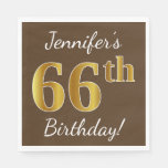 [ Thumbnail: Brown, Faux Gold 66th Birthday + Custom Name Paper Napkin ]