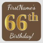 [ Thumbnail: Brown, Faux Gold 66th Birthday + Custom Name Sticker ]