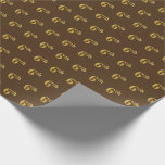 [ Thumbnail: Brown, Faux Gold 6th (Sixth) Event Wrapping Paper ]