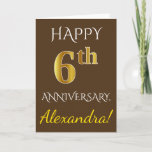 [ Thumbnail: Brown, Faux Gold 6th Wedding Anniversary + Name Card ]