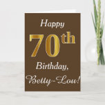[ Thumbnail: Brown, Faux Gold 70th Birthday + Custom Name Card ]