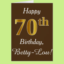 Brown, Faux Gold 70th Birthday   Custom Name Card