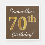 [ Thumbnail: Brown, Faux Gold 70th Birthday + Custom Name Paper Napkin ]