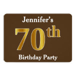 [ Thumbnail: Brown, Faux Gold 70th Birthday Party; Custom Name Invitation ]