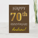 [ Thumbnail: Brown, Faux Gold 70th Wedding Anniversary + Name Card ]