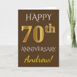 [ Thumbnail: Brown, Faux Gold 70th Wedding Anniversary + Name Card ]