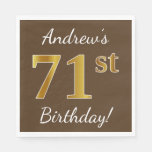 [ Thumbnail: Brown, Faux Gold 71st Birthday + Custom Name Paper Napkin ]