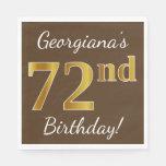 [ Thumbnail: Brown, Faux Gold 72nd Birthday + Custom Name Napkin ]