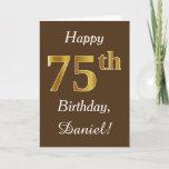 [ Thumbnail: Brown, Faux Gold 75th Birthday + Custom Name Card ]