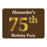 [ Thumbnail: Brown, Faux Gold 75th Birthday Party; Custom Name Invitation ]