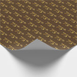 [ Thumbnail: Brown, Faux Gold 75th (Seventy-Fifth) Event Wrapping Paper ]