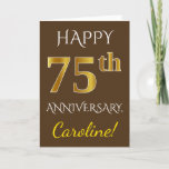 [ Thumbnail: Brown, Faux Gold 75th Wedding Anniversary + Name Card ]