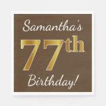 [ Thumbnail: Brown, Faux Gold 77th Birthday + Custom Name Paper Napkin ]