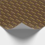 [ Thumbnail: Brown, Faux Gold 77th (Seventy-Seventh) Event Wrapping Paper ]