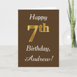 [ Thumbnail: Brown, Faux Gold 7th Birthday + Custom Name Card ]