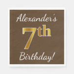 [ Thumbnail: Brown, Faux Gold 7th Birthday + Custom Name Paper Napkin ]