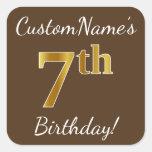 [ Thumbnail: Brown, Faux Gold 7th Birthday + Custom Name Sticker ]