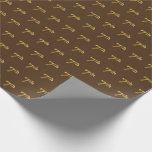 [ Thumbnail: Brown, Faux Gold 7th (Seventh) Event Wrapping Paper ]