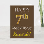 [ Thumbnail: Brown, Faux Gold 7th Wedding Anniversary + Name Card ]