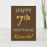 [ Thumbnail: Brown, Faux Gold 7th Wedding Anniversary + Name Card ]