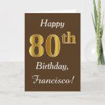 [ Thumbnail: Brown, Faux Gold 80th Birthday + Custom Name Card ]