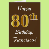 Brown, Faux Gold 80th Birthday   Custom Name Card