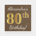 [ Thumbnail: Brown, Faux Gold 80th Birthday + Custom Name Napkin ]