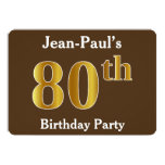 [ Thumbnail: Brown, Faux Gold 80th Birthday Party; Custom Name Invitation ]