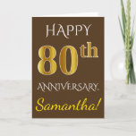 [ Thumbnail: Brown, Faux Gold 80th Wedding Anniversary + Name Card ]
