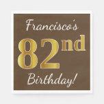 [ Thumbnail: Brown, Faux Gold 82nd Birthday + Custom Name Napkin ]