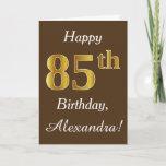 [ Thumbnail: Brown, Faux Gold 85th Birthday + Custom Name Card ]
