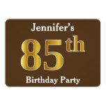 [ Thumbnail: Brown, Faux Gold 85th Birthday Party; Custom Name Invitation ]