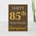 [ Thumbnail: Brown, Faux Gold 85th Wedding Anniversary + Name Card ]