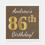 [ Thumbnail: Brown, Faux Gold 86th Birthday + Custom Name Paper Napkin ]