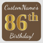 [ Thumbnail: Brown, Faux Gold 86th Birthday + Custom Name Sticker ]