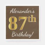 [ Thumbnail: Brown, Faux Gold 87th Birthday + Custom Name Paper Napkin ]
