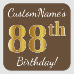 [ Thumbnail: Brown, Faux Gold 88th Birthday + Custom Name Sticker ]
