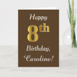 [ Thumbnail: Brown, Faux Gold 8th Birthday + Custom Name Card ]