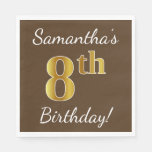 [ Thumbnail: Brown, Faux Gold 8th Birthday + Custom Name Paper Napkin ]