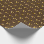 [ Thumbnail: Brown, Faux Gold 8th (Eighth) Event Wrapping Paper ]