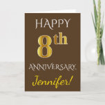 [ Thumbnail: Brown, Faux Gold 8th Wedding Anniversary + Name Card ]