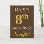 [ Thumbnail: Brown, Faux Gold 8th Wedding Anniversary + Name Card ]