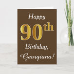 [ Thumbnail: Brown, Faux Gold 90th Birthday + Custom Name Card ]