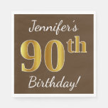 [ Thumbnail: Brown, Faux Gold 90th Birthday + Custom Name Napkin ]