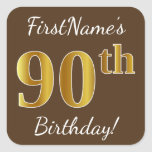 [ Thumbnail: Brown, Faux Gold 90th Birthday + Custom Name Sticker ]