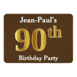 [ Thumbnail: Brown, Faux Gold 90th Birthday Party; Custom Name Invitation ]