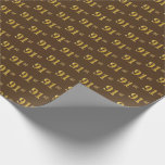 [ Thumbnail: Brown, Faux Gold 91st (Ninety-First) Event Wrapping Paper ]