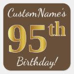 [ Thumbnail: Brown, Faux Gold 95th Birthday + Custom Name Sticker ]
