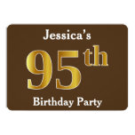 [ Thumbnail: Brown, Faux Gold 95th Birthday Party; Custom Name Invitation ]